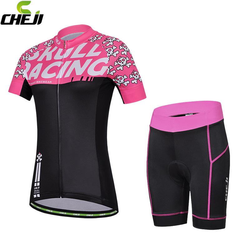ชุดจักรยานผู้หญิงแขนสั้นขาสั้น CheJi 15 (04) สีชมพูดำลาย Skull Racing สั่งจอง (Pre-order)