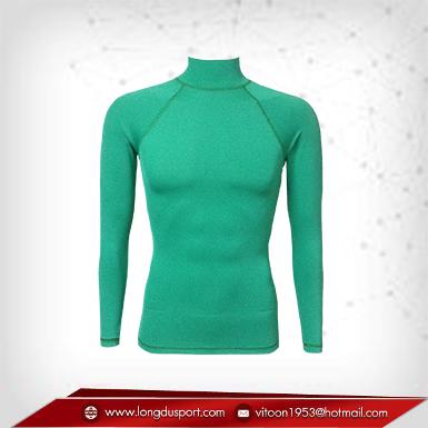 Body Fit / Base Layer เสื้อรัดรูป คอตั้ง แขนยาว สี เขียว mediumseagreen