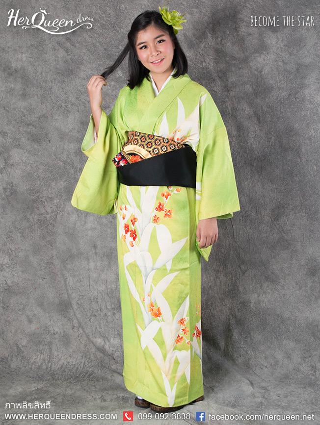 เช่าชุดแฟนซี &#x2665 ชุดญี่ปุ่น กิโมโน สีเขียวตอง