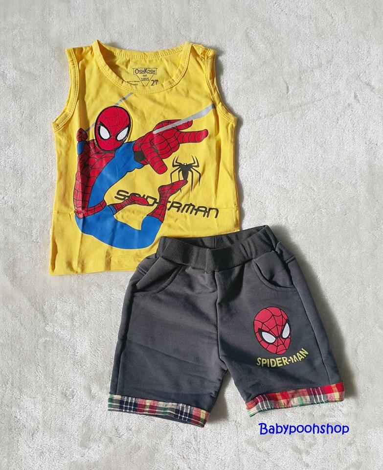 เซ็ทเสื้อกล้ามสีเหลือง+กางเกงขาสั้นสีเทาดำ สกรีนลาย spiderman size : 2y / 3y / 4y