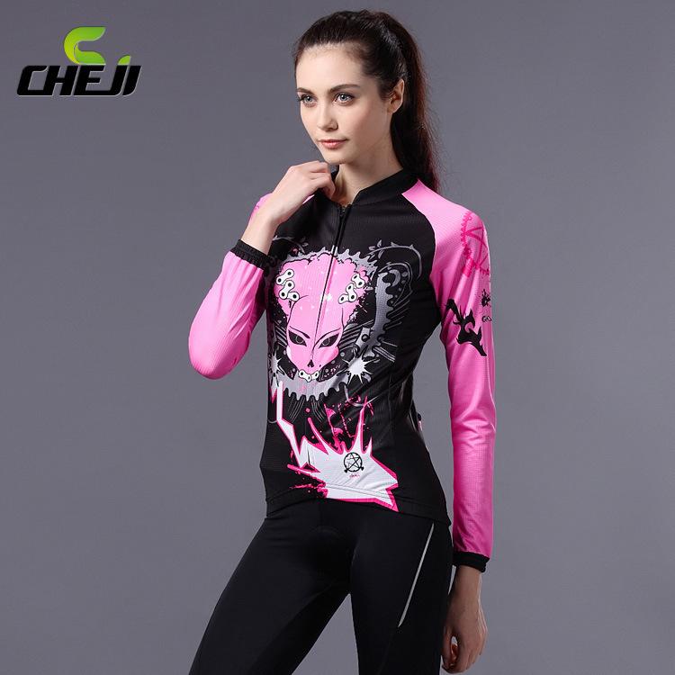 ชุดจักรยานผู้หญิงแขนยาวขายาว CheJi 14 (11) สีดำชมพูลาย Devil Gear สั่งจอง (Pre-order)