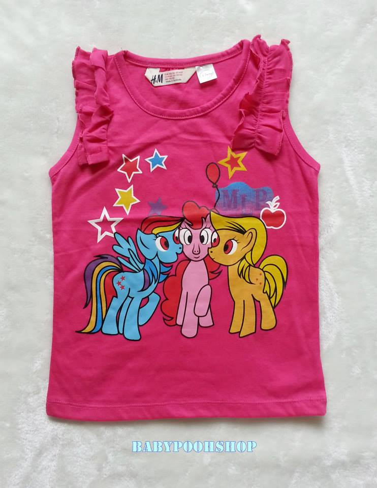 H&M : เสื้อกล้ามลายม้าโพนี่ ดาว สีชมพูเข้ม Size : 6-8y / 10-12y