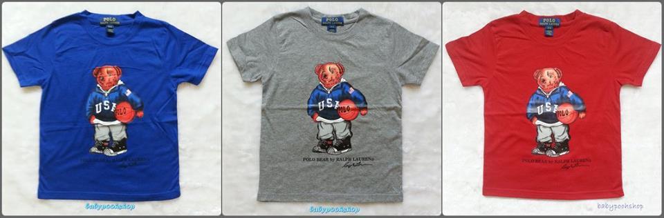 POLO : เสื้อยืดลายน้องหมีถือลูกบอล สี น้ำเงิน เทา แดง