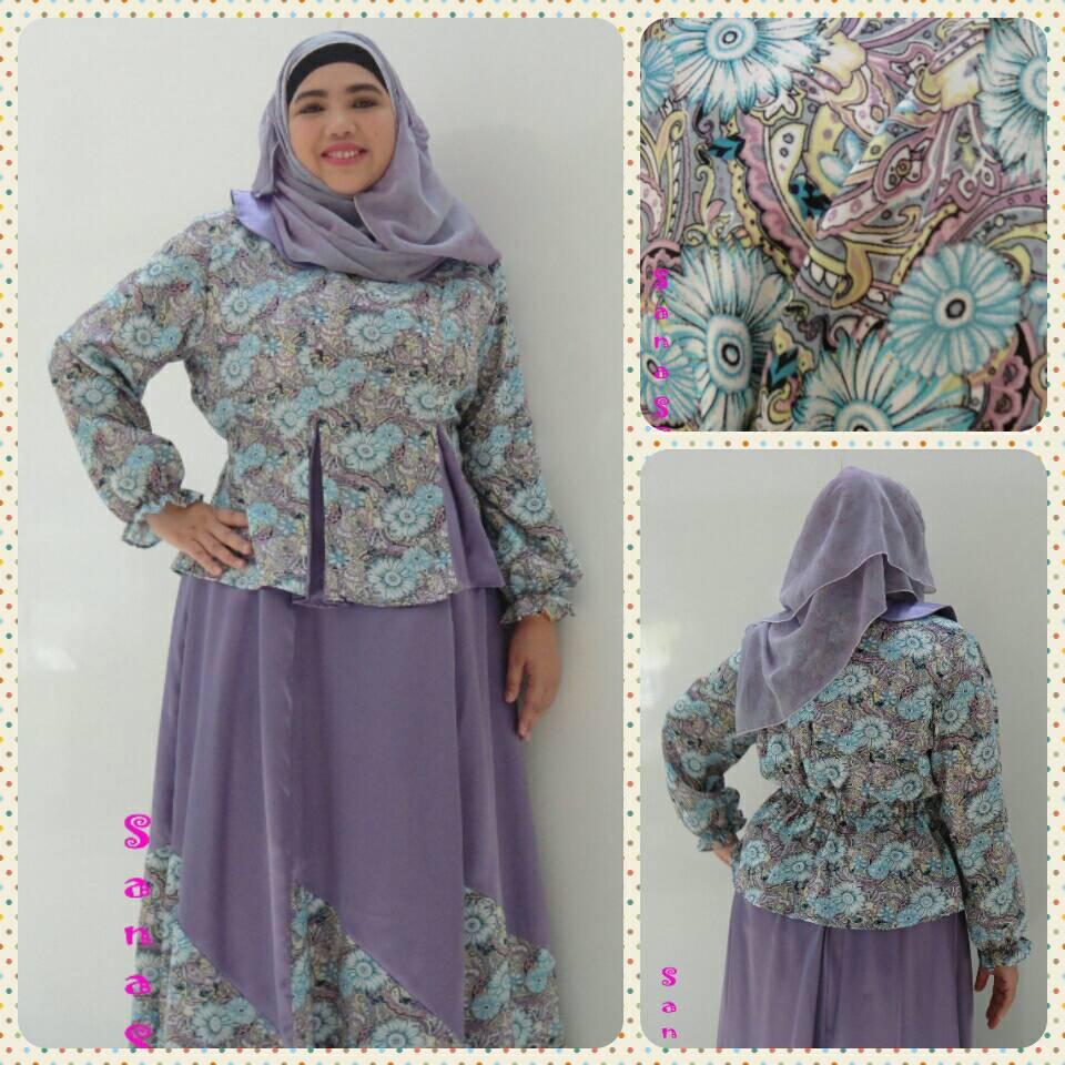ชุดมุสลิมเสื้อ+กระโปรงผ้าซาตินลายดอกเนื้อดี ฟรี ฮิญาบ!!