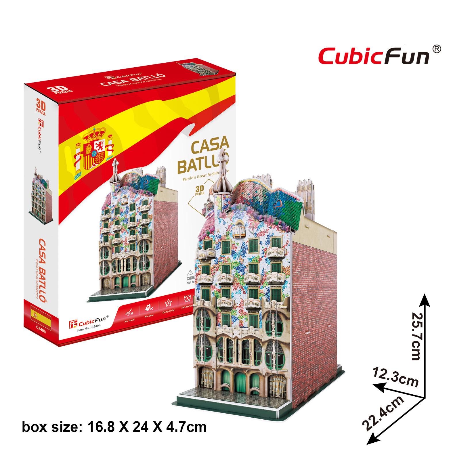 Casa Batllo Cubic Fun 3D Puzzle Size 22.4*12.3*25.7 cm. Total 68 pcs