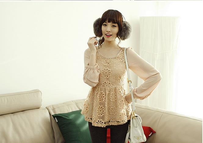 เสื้อ เกาหลีใหม่ organza +แขนซีฟอง