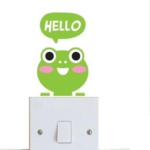 """สติ๊กเกอร์ติดปลั๊กไฟ """"Hello Frog""""ขนาดซองบรรจุ 15 x 12 cm"""
