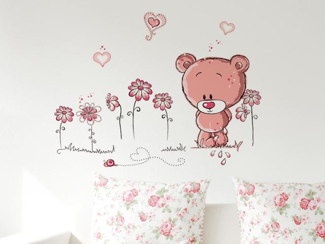 """สติ๊กเกอร์ติดผนัง สำหรับห้องเด็ก """"หมีชมพู Bear Cute Pink"""" ความสูง 75 cm กว้าง 100 cm"""
