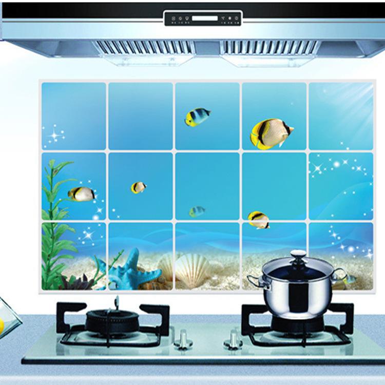 """สติ๊กเกอร์ติดครัว กันน้ำมันกระเด็น อลูมิเนียม """"Under The Sea III"""" ขนาด 45cm x 75cm"""