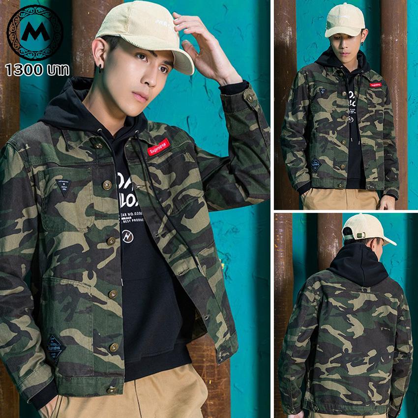 เสื้อแจ็คเก็ตพลางฟอกสีซีดแฟชั่น J003 (Army Harajuku Style) สินค้าไต้หวันนำเข้า