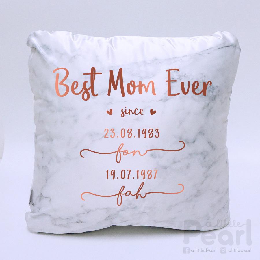 หมอนอิงสั่งทำใส่ชื่อ ลาย Marble - Best Mom Ever - Copper
