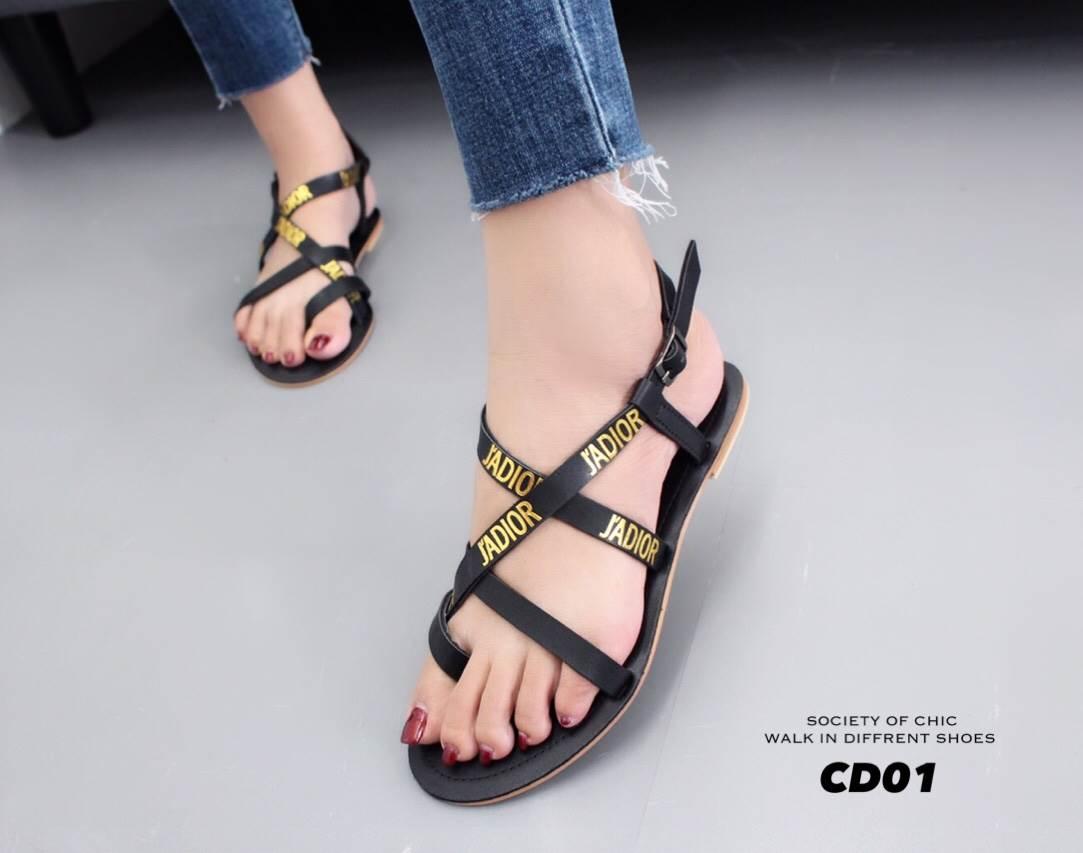 รองเท้าแตะรัดส้นสไตล์ Dior (สีดำ)