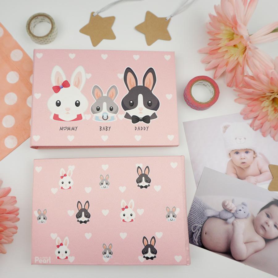 อัลบั้มจุ 50 รูป ลายครอบครัวกระต่าย สีชมพู