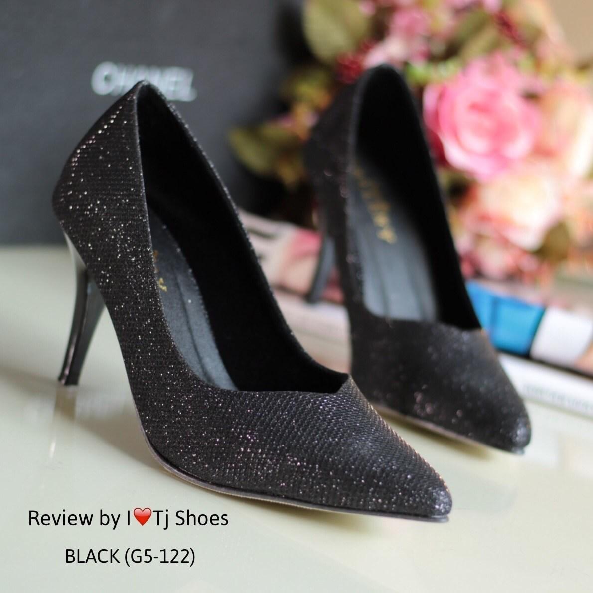 รองเท้าส้นสูงกลิตเตอร์ (สีดำ)