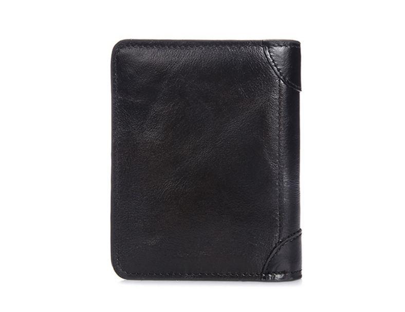 กระเป๋าสตางค์ผู้ชาย หนังวัวแท้ 100% ทรงสั้น Leather CC Black สีดำ