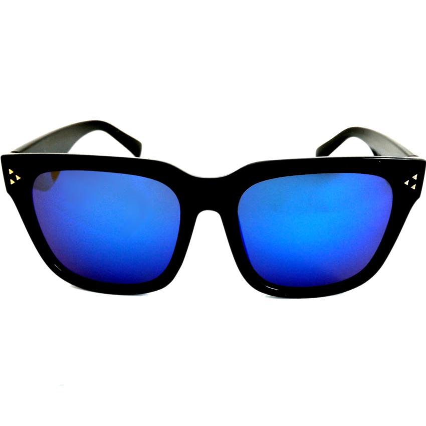 แว่นกันแดด ทรง Clubman Style กรอบดำ เล่นปรอทสีฟ้า