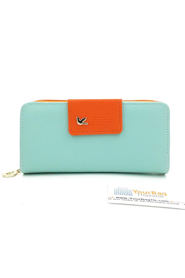 กระเป๋าสตางค์ผู้หญิง ทรงยาว รุ่น Cheer upl - Blue/Orange