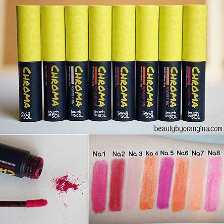 Touch in SOL CHROMA Powder Tint นวัตกรรมใหม่ ลิปเนื้อผงแป้ง พอแตะโดนริมผิวจะกลายเป็นน้ำ พอแห้งจะกลายเป็นเนื้อแมท เม็ดสีสดแน่น ติดทนกันน้ำ เป็นของเล่นใหม่ที่คุณโมเมพาเพลินยังแนะนำ !! น่าลองสุดๆไปเลย !!