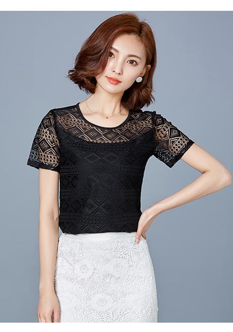 เสื้อแฟชั่นชีฟอง แขนสั้น แต่งด้วยด้ายถักลวดลาย -1324-สีดำ