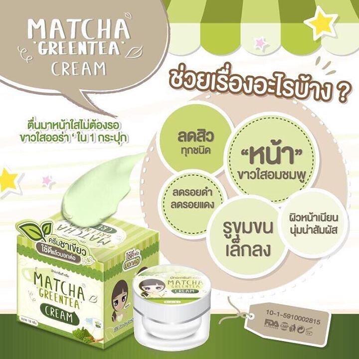 Matcha Greentea Cream by Baicha Skincare 10 g. มัทฉะ กรีนที ครีม ครีมชาเขียว อุดมไปด้วยสารสกัดจากใบชา น้ำผึ้ง และน้ำนม ไม่ระคายเคืองต่อผิวหน้าอย่างแน่นอน เหมาะสำหรับทุกสภาพผิว แม้ผิวบอบบางแพ้ง่าย