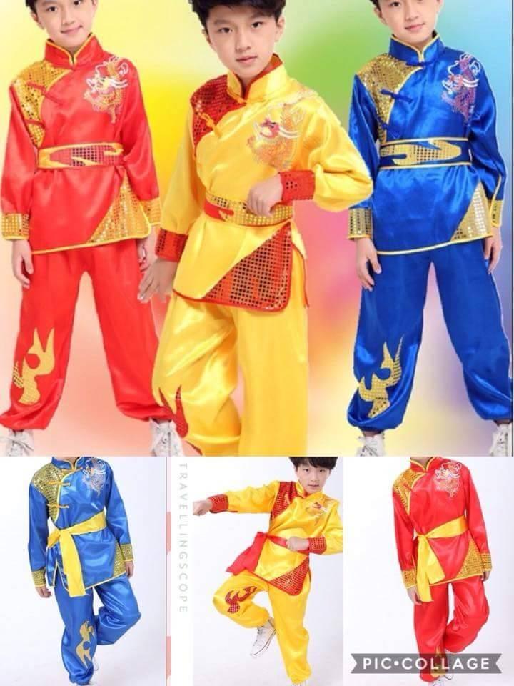 ชุดฮ่องเต้แขนยาว+กางเกงขายาว สีเหลือง-สีแดง
