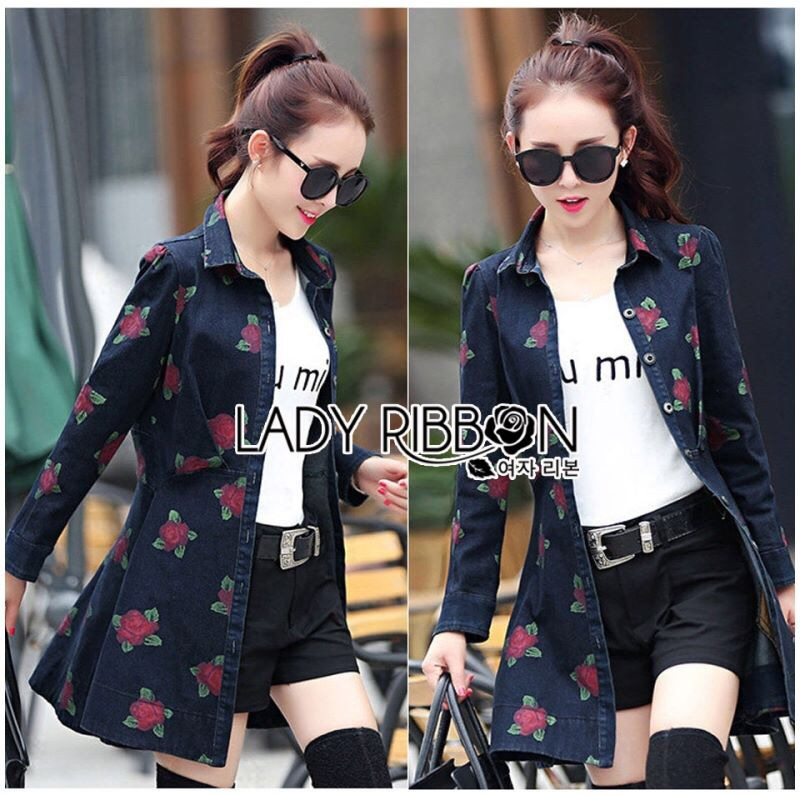 Lady Ribbon's Made Lady Sarah Sporty and Sweet Red Roses Printed Denim Shirt Dress