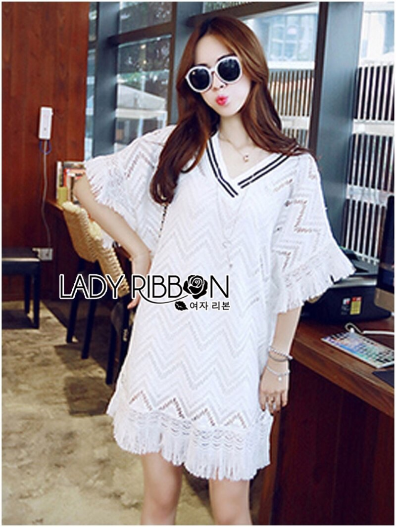 Lady Ribbon's Made Lady Florence Modern Hippie Free-Spirit Fringed Lace Dress