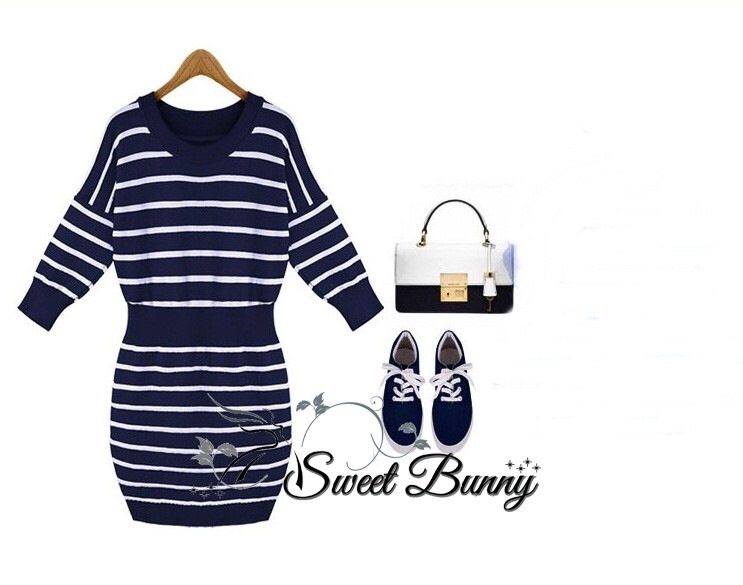 Mail stripe knit dress by Sweet Bunny สี กรม
