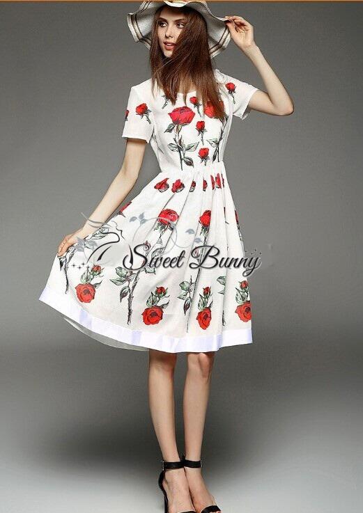 Petite rose print dress by Sweet Bunny