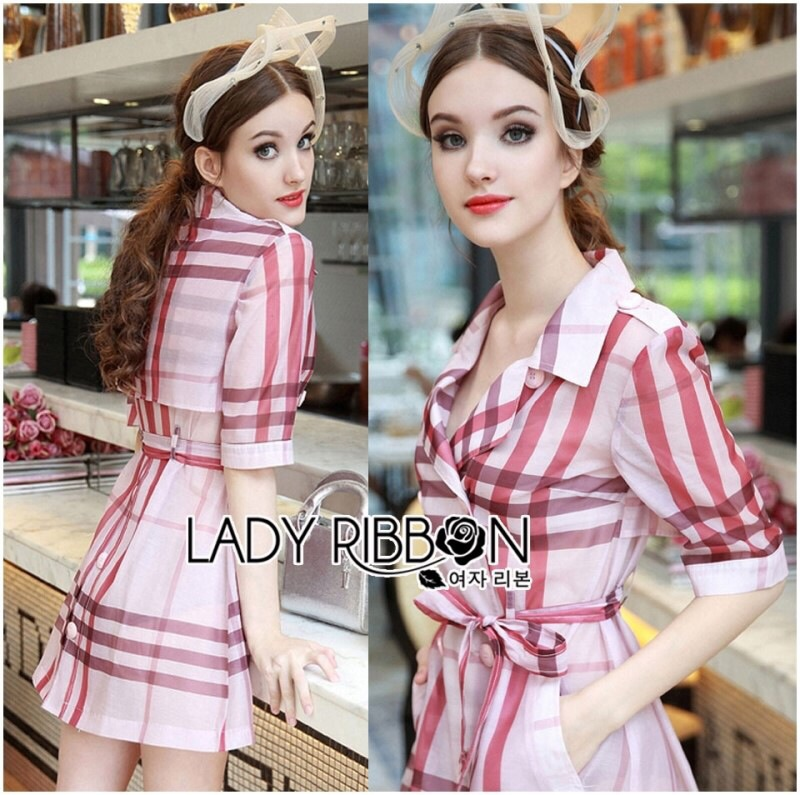 Lady Ribbon's Made Lady Susan Double-Breast Checked Pink Trench Coat