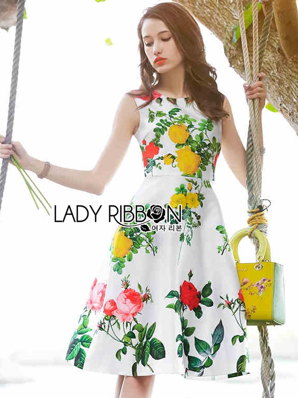 Lady Ribbon's Made Lady Rosie English Roses Printed White Sleeveless Dress
