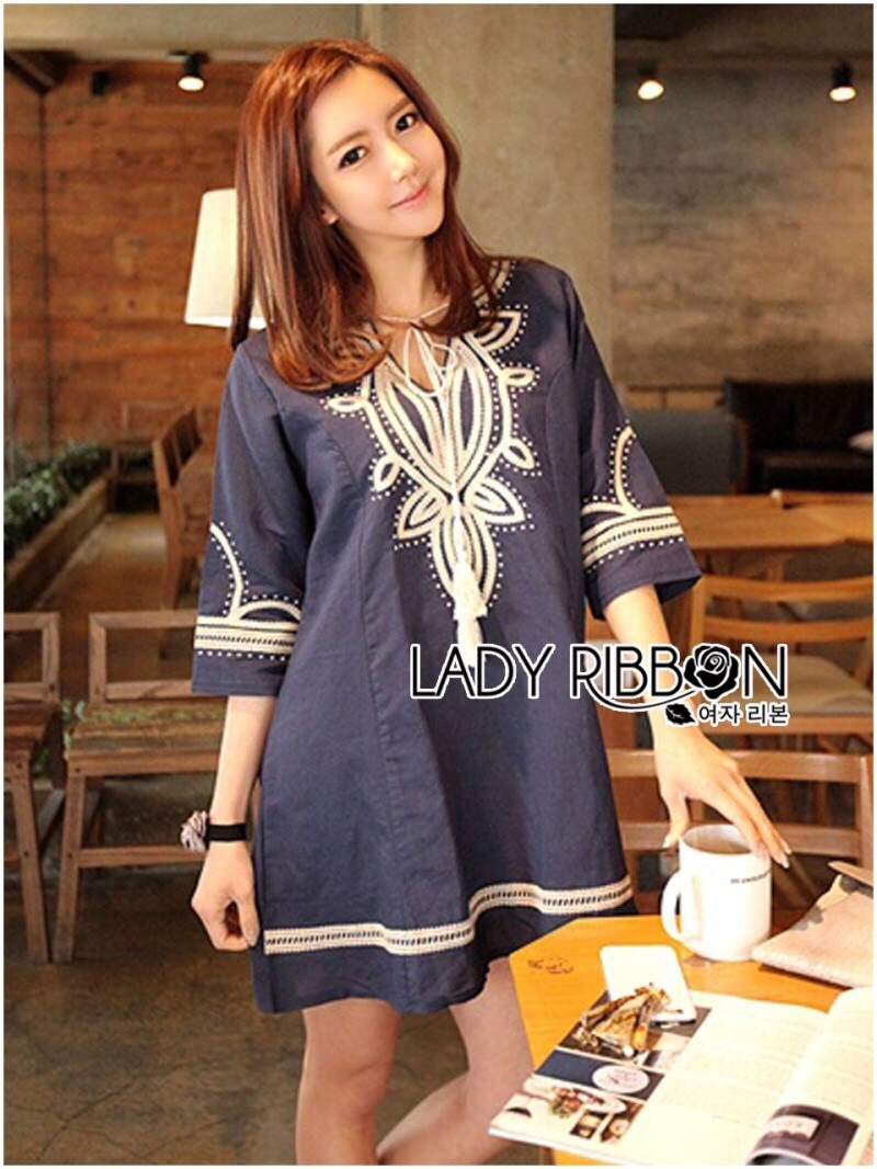 Lady Ribbon's Made Lady Claire Rich Embroidered Boho Cotton Dress สีน้ำเงินเข้มค่ะ