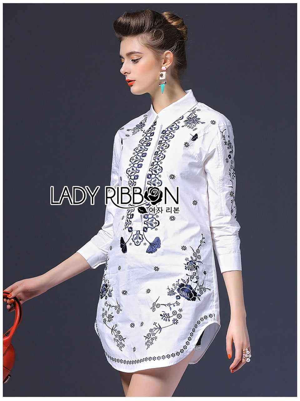 Lady Ribbon's Made Lady Annie Smart Casual Monochrome Embroidered Shirt Dress สีขาว