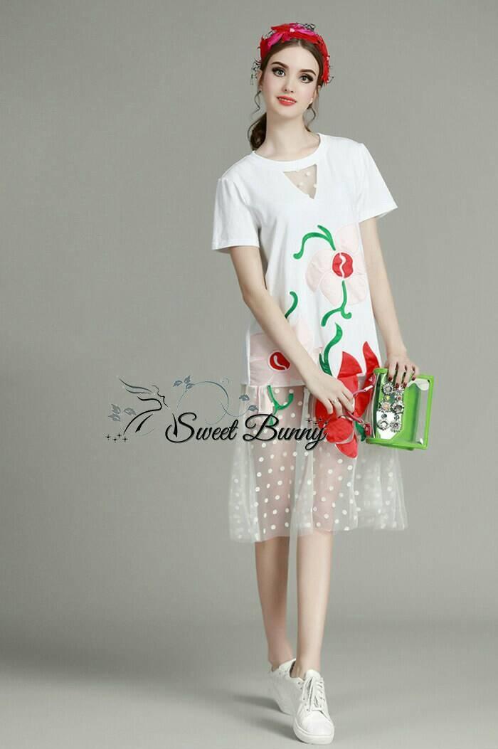 Sweet Bunny Present... See-Through Floral Long dress สีขาว