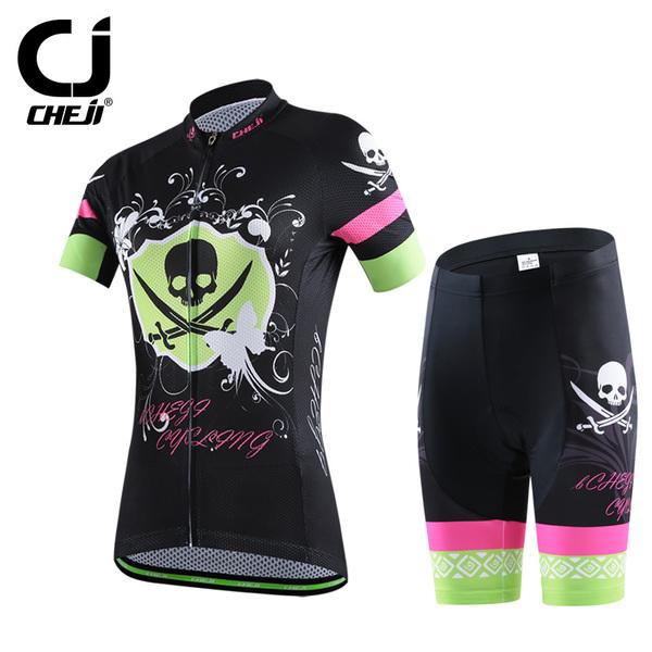 พร้อมส่ง >> ชุดปั่นจักรยาน New 2016 รุ่นใหม่ล่าสุด CJ ชุดขี่จักรยาน คุณภาพดี สีดำชมพูกะโหลก