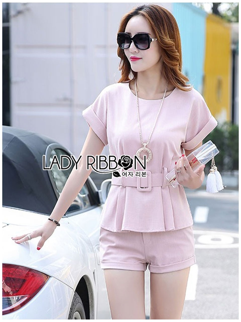 Lady Ribbon's Made Lady Amanda Smart Minimal Belted Top and Shorts Set สีชมพู