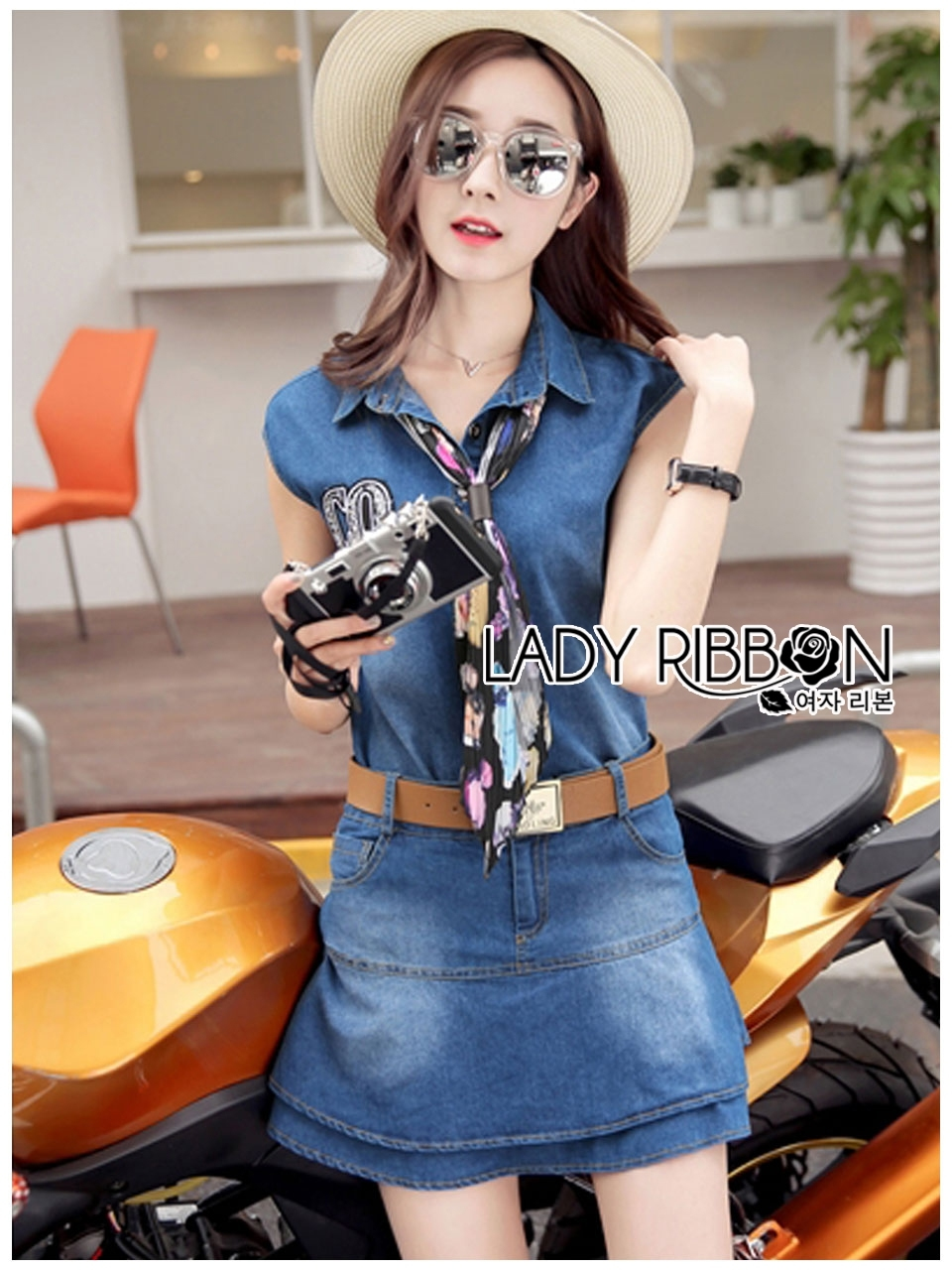 Lady Ribbon's Made Moschino Country Girl Denim Set with Printed Pleated Scarf ยีนส์เข้ม