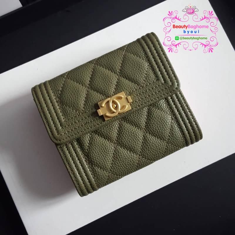 Chanel boy wallet สีเขียว งานHiend Original