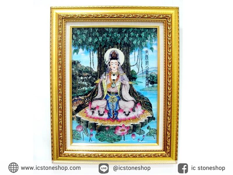 ▽[โปรโมชั่น] ภาพเทพเจ้าแม่กวนอิม ทำจากพลอยและหิน (ขนาดรวมกรอบ 41x51 นิ้ว.)