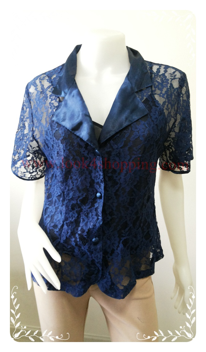 เสื้อผ้าลูกไม้ สีน้ำเงิน มือสอง แบรนด์ Victoria s Secret อก 36-38 นิ้ว