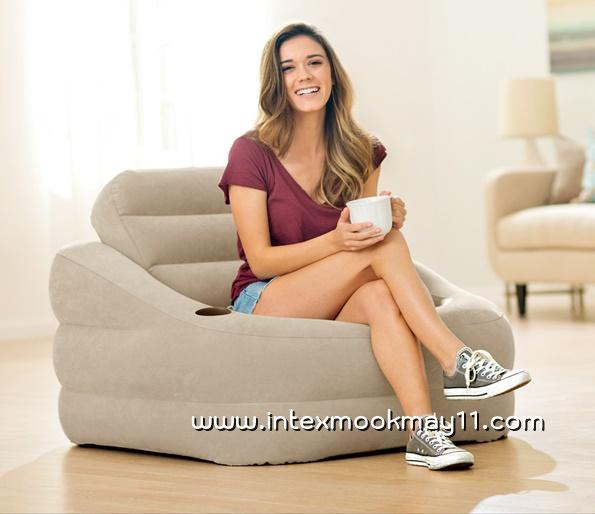 Intex air chair โซฟามีพนักพิง+ถอดออกได้ สีเบจ 68587