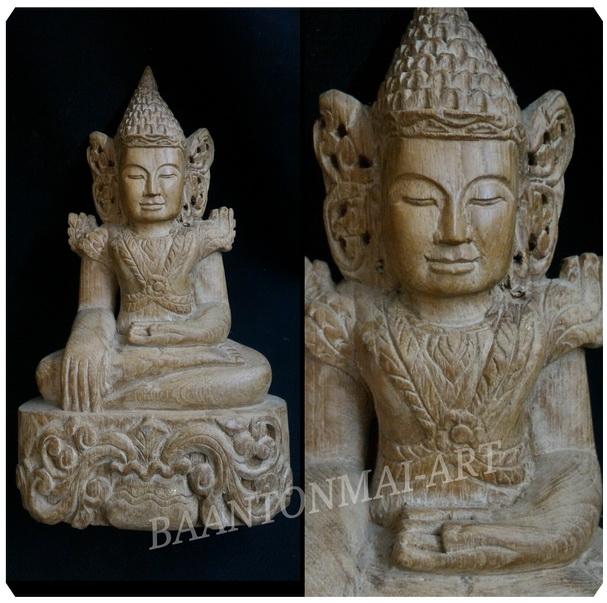 พระไม้แกะสลัก ศิลปะพม่า สูง 25 cm