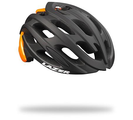 หมวกจักรยาน Blade / Mat Black Flash Orange + LED + Madcup