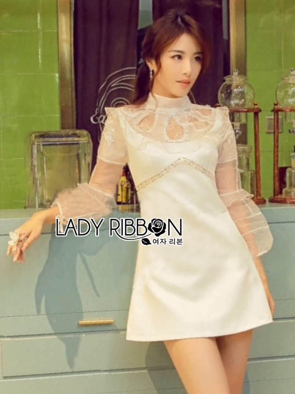 &#x1F380 Lady Ribbon's Made &#x1F380 Lady Hannah Little Princess Pure White Lace and Polyester Mini Dress