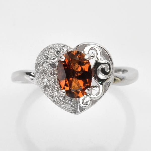 แหวนพลอยแท้ แหวนเงินแท้925 ชุบทองคำขาว พลอยโทแพซสีแชมเปญ ประดับเพชร CZ