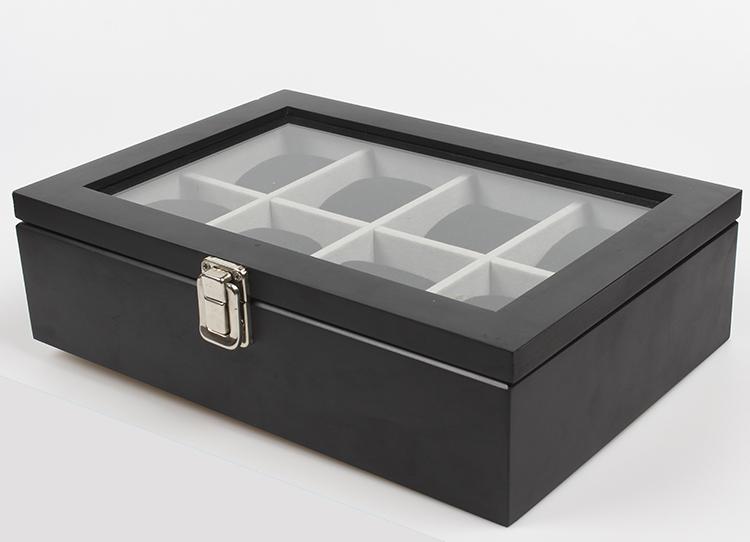 กล่องไม้เก็บนาฬิกา 8 เรือน สีดำ