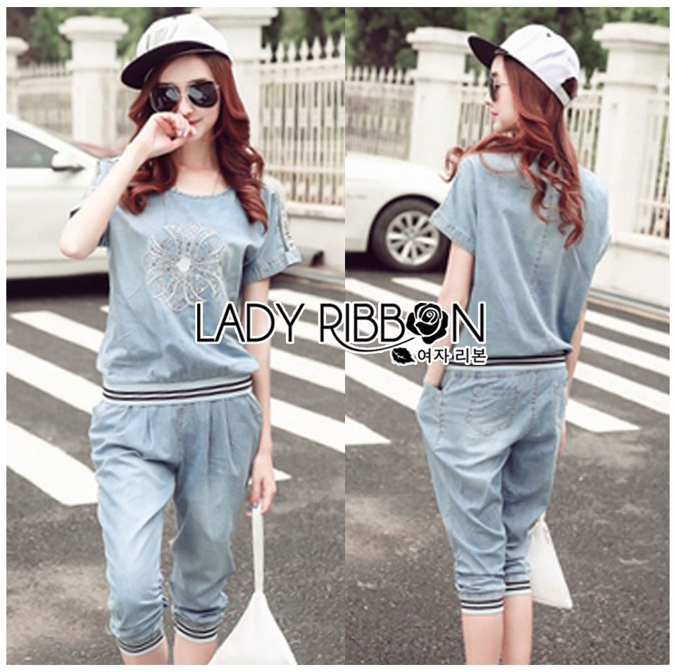 Lady Ribbon Korea Dress LR11060616 &#x1F380 Lady Ribbon's Made &#x1F380 Lady Naomi Street Chic Embroidered and Studded Denim Set