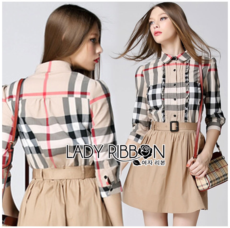 Lady Ribbon's Made &#x1F380 Burberry Signature Plaid Camel Shirt Dress เชิ้ตเดรส