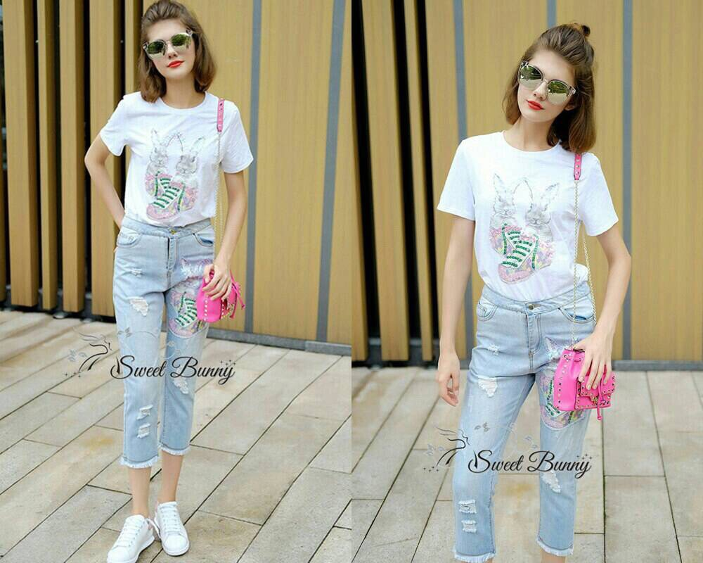 Lady Ribbon Korea Closet SB 07300516 Sweet Bunny Present... Rabbit Jeans Set