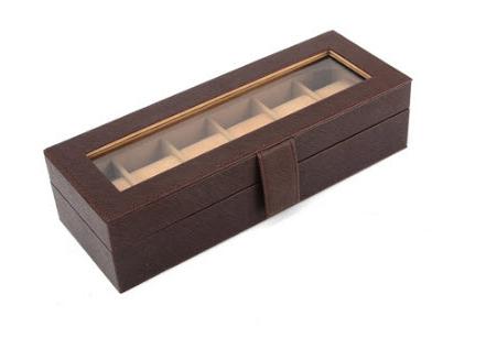 กล่องหนังเก็บนาฬิกา 6 เรือน สีน้ำตาล